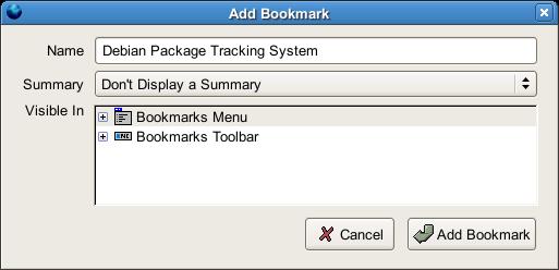 Add Bookmarkダイアログ