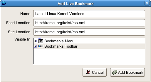 Add Live Bookmarkダイアログ