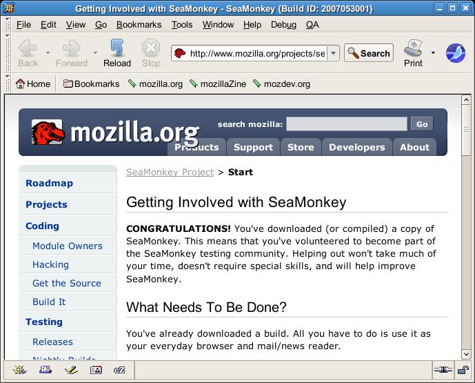 SeaMonkey 20070501-trunk/Linux