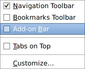 Context menu on the menu bar