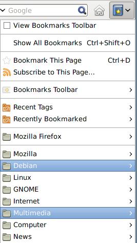 おかしなBookmarksメニュー